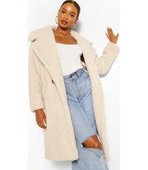 oversized faux fur teddy jas, crème
