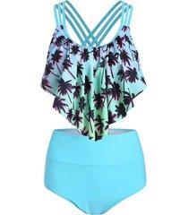 palm tree print overlay tankini swimsuit