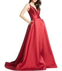 mac duggal women's empire taffeta ball gown - wine - size 14