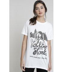 t-shirt feminina mindset de banda the rolling stones manga curta decote redondo off white