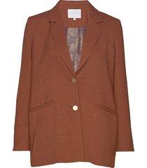 suit jacket in checked quality blazer kavaj brun coster copenhagen