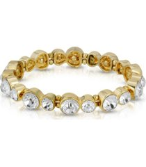 2028 gold-tone clear crystal stretch bracelet