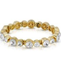 2028 gold-tone clear crystal stretch bracelet