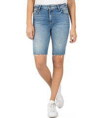 women's kut from the kloth sophie distressed denim bermuda shorts, size 6 - blue
