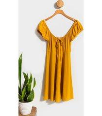 juniper puff sleeve mini dress - yellow