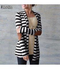 zanzea de gran tamaño moda otoño las mujeres de algodón a rayas outwear señora de parches de manga larga fina delgada funciona cardigan suéter de punto -negro