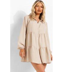 gesmokte blouse jurk met textuur, stone
