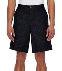 ax armani exchange men's allover micro-logo denim shorts