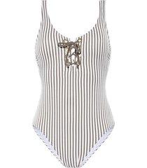 badpak beachlife 1-delig zwempak taupe stripe