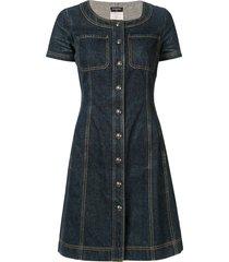 chanel pre-owned shortsleeved buttoned denim dress - blue