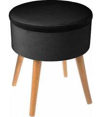 stołek welurowy pufa ze schowkiem black