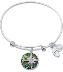 "unwritten ""journey"" cubic zirconia and genuine abalone adjustable bangle bracelet in stainless steel silver plated charms"