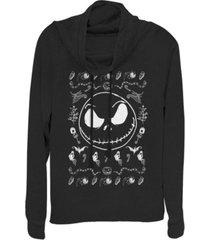 fifth sun juniors nightmare before christmas jack spooky sweater fleece cowl neck sweatshirt