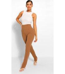 long line slim fit broek met krijtstrepen en split, kameel