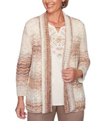 alfred dunner petite first frost space-dyed pointelle cardigan