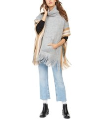 steve madden fuzzy striped poncho with pocket