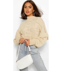 chunky knit high neck ruffle sweater, oatmeal