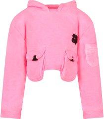cinzia araia neon pink sweatshirt for girl with logo