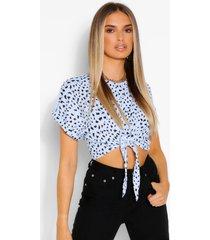 dalmatian print rib tie front top, blue