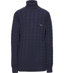 d1. cotton cable turtle neck pullover blauw gant