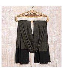 wool and silk blend shawl, 'soft black tweed' (india)