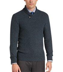 joseph abboud denim blue button shawl sweater