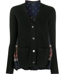 sacai paisley-print pleated wool cardigan - black