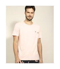 camiseta masculina com bolso manga curta gola careca rosa claro