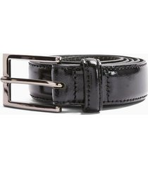mens black patent leather belt