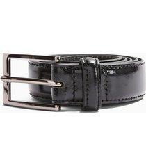 mens black patent leather belt