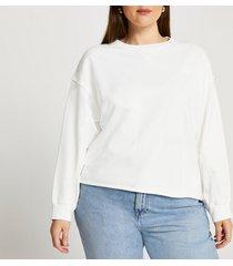 river island womens plus cream long sleeve sweatshirt
