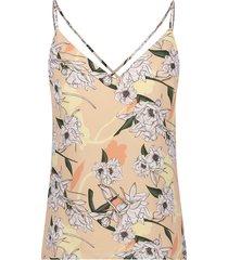 josh v mouwloze top met dunne bandjes model channia kleur flower bohemian nude
