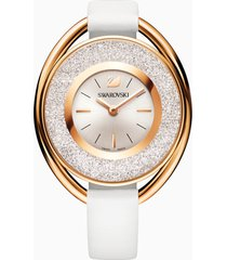 orologio crystalline oval, cinturino in pelle, bianco, pvd oro rosa