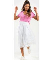 sophia tulle midi skirt - white