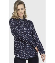 blusa nautica azul - calce regular