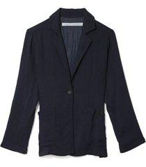 pleated rayon bianca blazer in navy