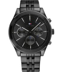 tommy hilfiger men's chronograph black stainless steel bracelet watch 44mm