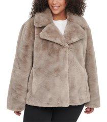 dkny plus size faux-fur coat