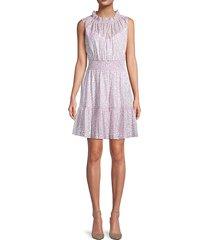 rebecca taylor women's leaf-print ruffle-hem dress - lavender - size l
