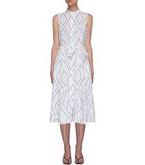short clevete geometric print sleeveless belted midi dress