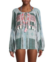 embroidered myra tassel blouse