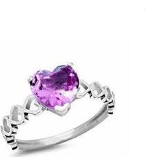 anel lolla925 coração roxo bia prata 925
