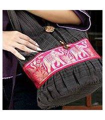 cotton shoulder bag, 'scarlet thai' (thailand)