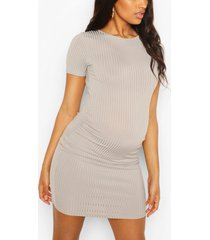 maternity basic rib bodycon dress, grey marl
