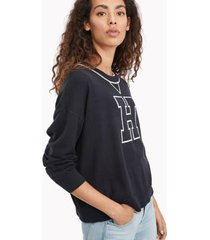 tommy hilfiger women's essential varsity sweater sky captain / ivory - xs
