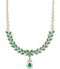 brasilica by effy emerald (11-3/4 ct. t.w.) and diamond (2-3/4 ct. t.w.) pendant necklace in 14k gold, created for macy's