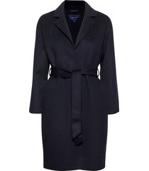 d1. wool blend belted coat wollen jas lange jas blauw gant