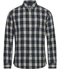 larch casual fit small checked flan overhemd casual blauw knowledge cotton apparel