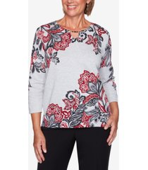 alfred dunner petite knightsbridge station cotton printed sweater
