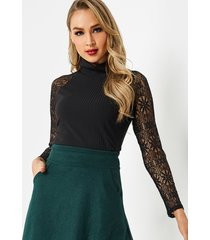 black high collar thread lace stitching top